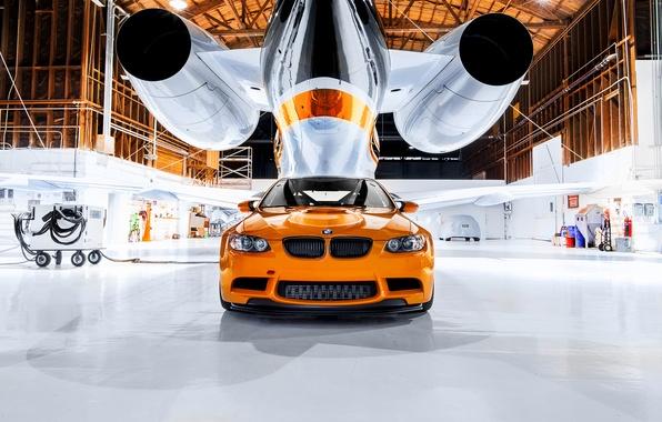 Picture BMW, hangar, orange, M3 GTS