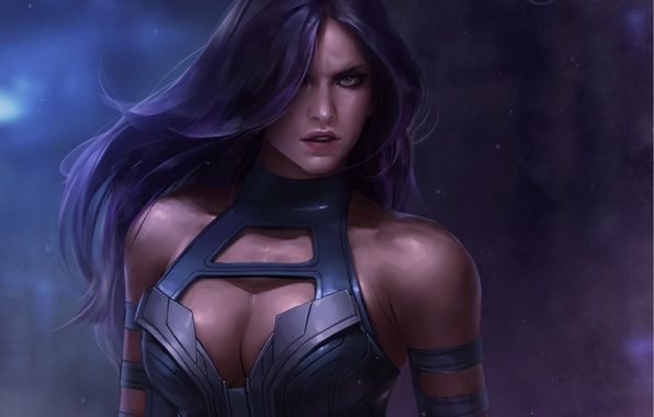 Picture look, girl, art, Marvel, Psylocke