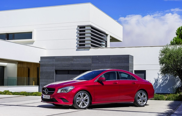 Picture Mercedes-Benz, Red, Auto, Day, The building, Sedan, Class, CLA