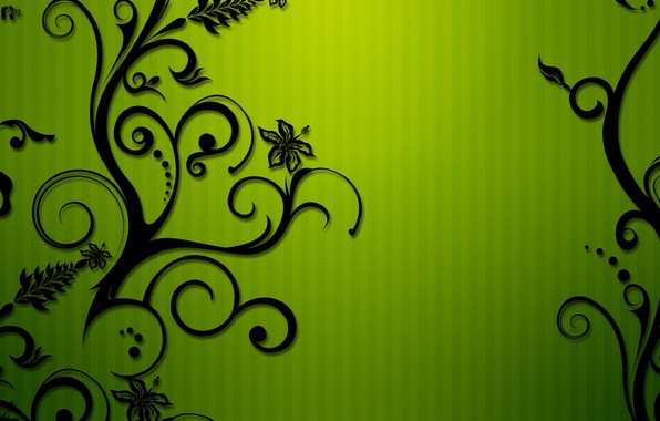 Picture flowers, green, strip, pattern, curls