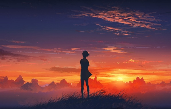 Picture the sky, grass, girl, clouds, sunset, mountain, art, beautiful