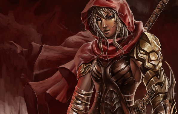 Picture girl, weapons, the wind, art, hood, armor, cloak