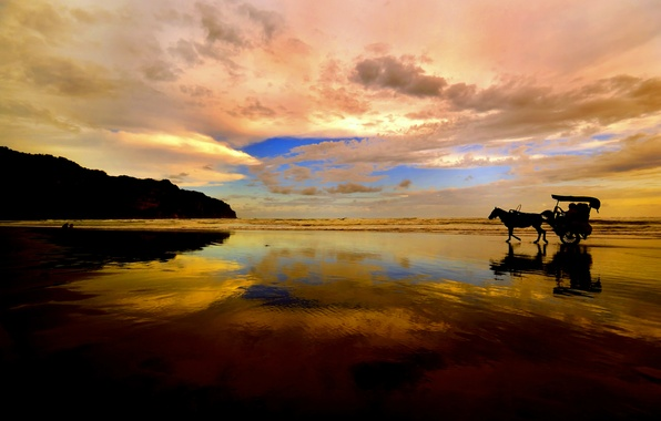 Picture sea, the sky, clouds, sunset, mountains, reflection, horse, silhouette, wagon