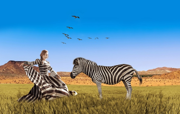 Picture the sky, grass, girl, birds, strip, creative, photoshop, pack, plain, dress, Zebra, hairstyle, Savannah, Africa, …