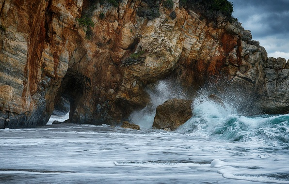 Picture sea, wave, the sky, squirt, storm, rocks, arch