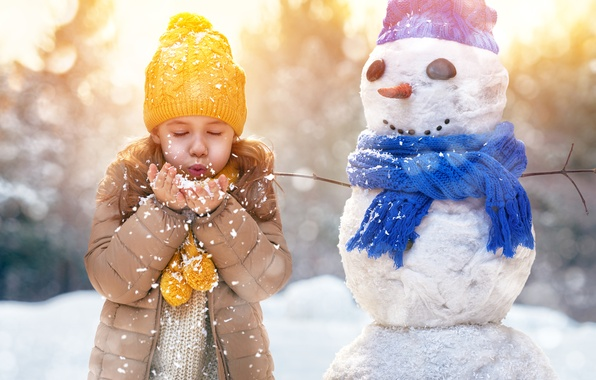 Picture Winter, Children, Girl, Snowflakes, Snowman, Caps