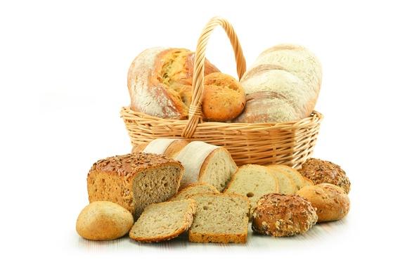 Picture basket, bread, cakes, buns, chunks, baton