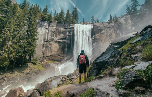 Picture forest, nature, rock, waterfall, traveler, tourist, admiring the scenery