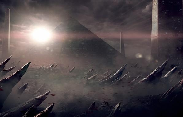 Picture lights, rocks, the wind, planet, dust, art, pyramid, columns, sharp
