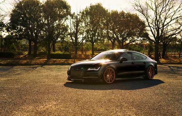 Picture Audi, black, vossen wheels, frontside