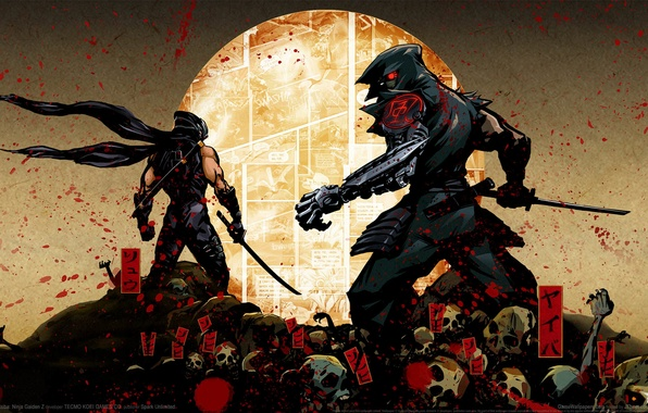 Picture squirt, blood, sword, katana, bones, hood, characters, skull, kimono, ninja, cyborg, GameWallpapers, comic, ninja, Ryu …