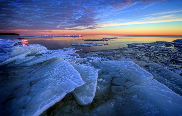 Picture winter, sea, dawn, morning, ice