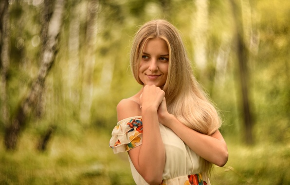 Picture forest, summer, girl, trees, face, smile, sweetheart, portrait, dress, blonde, light, handle, beautiful, the beauty, …
