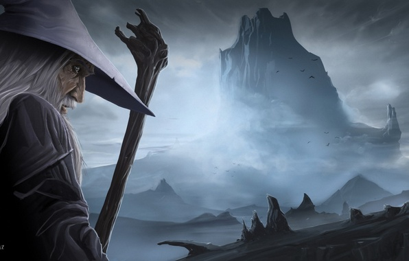 Picture mountain, hat, art, the old man, staff, Gandalf, the sorcerer, Gandalf, The Hobbit: The Desolation …