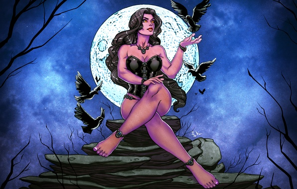 Picture birds, night, stones, the moon, art, witch, Raven, the full moon, raven blume