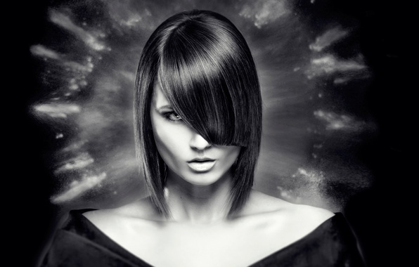 Picture portrait, hairstyle, Kare, bangs, Aura