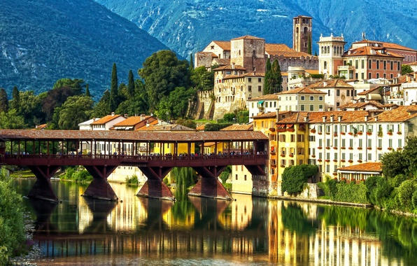 Picture mountains, bridge, reflection, river, building, Alps, Italy, promenade, Italy, Alps, Veneto, Veneto, Brenta River, Bassano ...