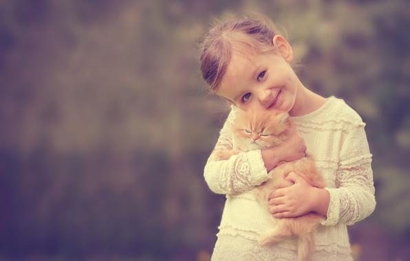 Picture smile, mood, girl, kitty, friends, ginger kitten