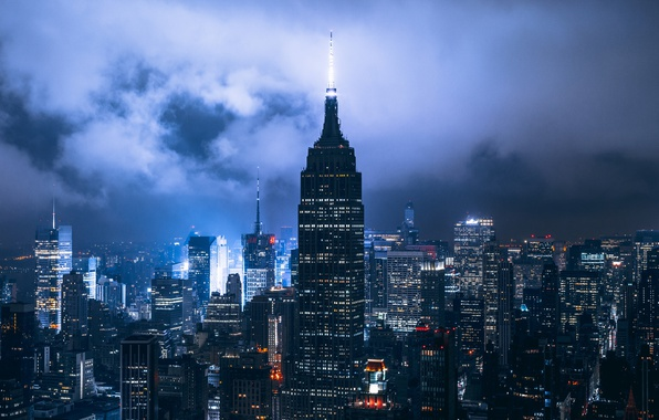 Picture clouds, night, the city, lights, USA, New York