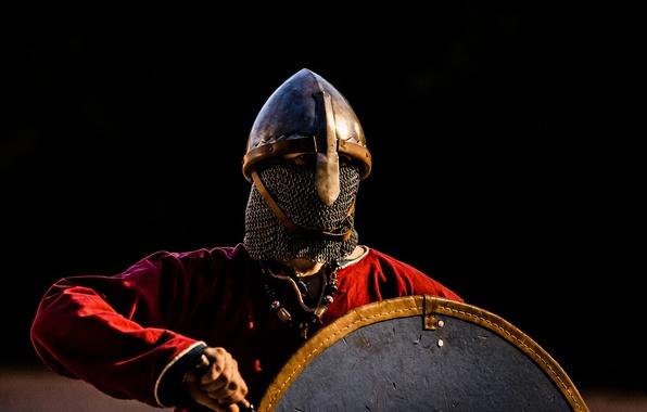 Photo Wallpaper Sword Warrior Helmet Shield Viking