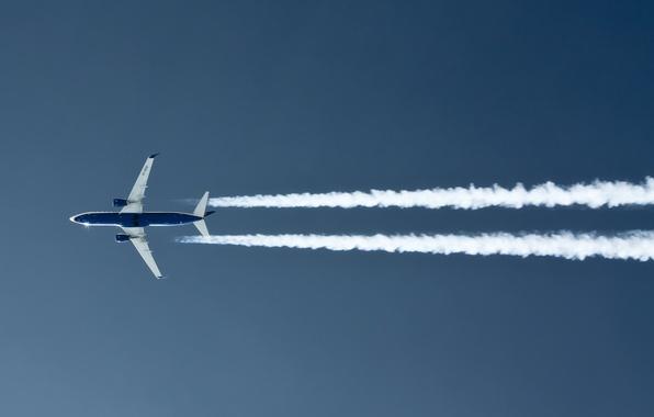 Photo wallpaper the sky, the plane, smoke trail
