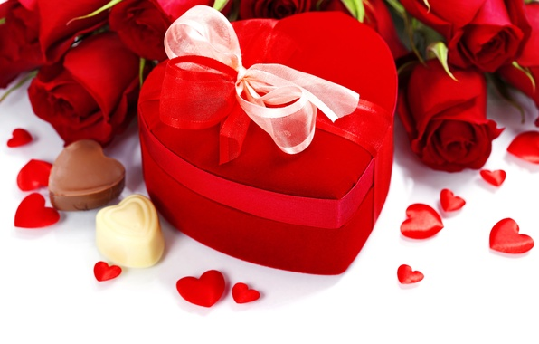 Picture gift, heart, chocolate, roses, bouquet, candy, love, heart, romantic, Valentine's Day, roses