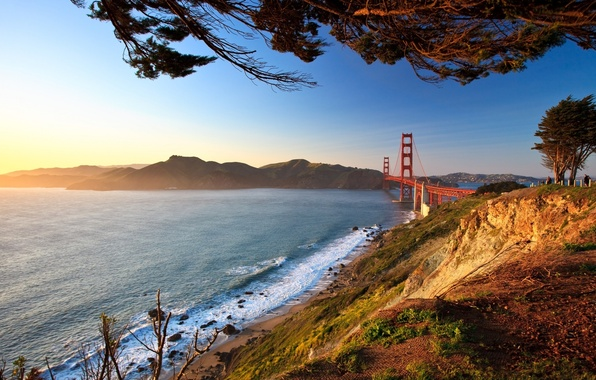 Picture road, landscape, bridge, city, the city, photo, view, Golden gate, Landscape, bridges, Landscapes, view, san …