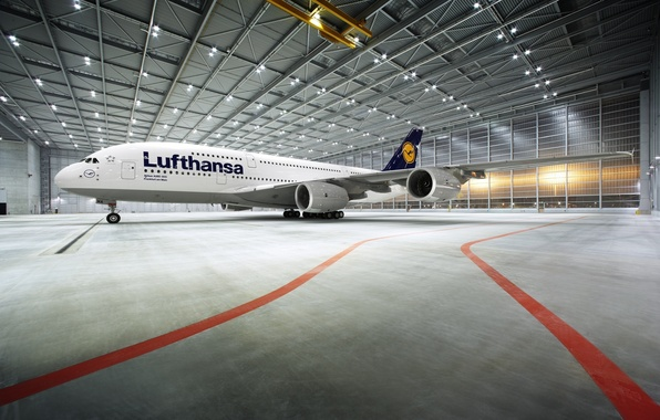 Picture The plane, Liner, Airport, Hangar, A380, Lighting, Lufthansa, Passenger, Airbus