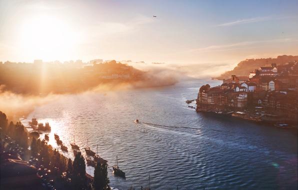 Picture fog, river, morning, Portugal, Porto