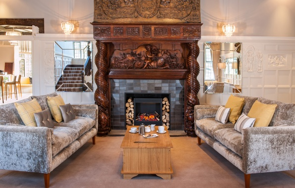 Picture design, house, style, Villa, interior, fireplace, living space