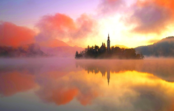 Picture water, landscape, orange, nature, fog, lake, heat, island, tower, beauty, Lake Bled