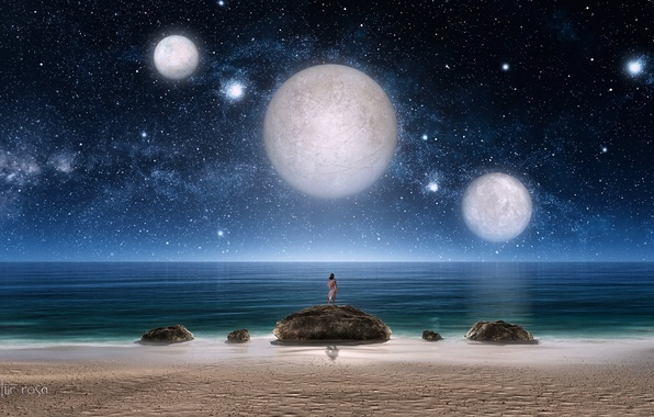 Picture sea, girl, stars, night, stones, fiction, planet, art, three, starry sky