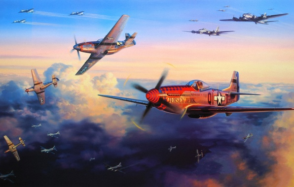 Picture aircraft, war, art, airplanes, painting, aviation, drawing, ww2, dogfight, b-17, p-51d, bombing