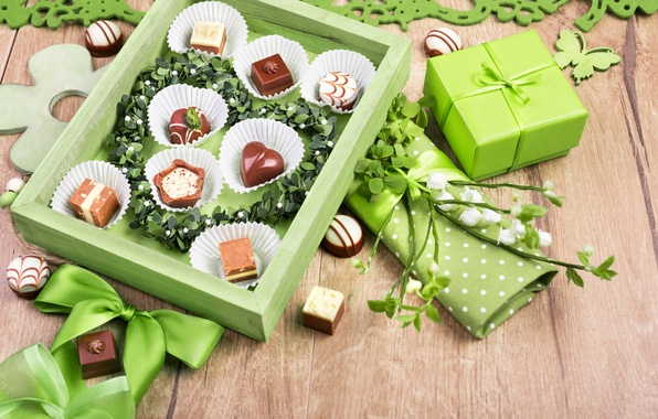 Picture gift, dark, chocolate, candy, bow, chocolate, dessert, candy, milk