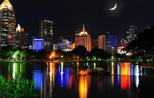 Picture water, night, the city, lights, reflection, home, a month, Thailand, Bangkok, Thailand, Bangkok