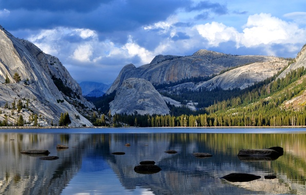 Picture forest, the sky, water, clouds, trees, clouds, lake, surface, reflection, stones, blue, Mountains