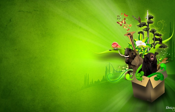 Picture animals, flower, trees, butterfly, letters, music, box, green, the inscription, elephant, logo, music, bear, jungle, …