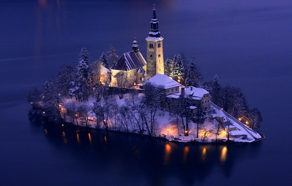 Picture winter, snow, trees, lights, lake, island, tower, home, the evening
