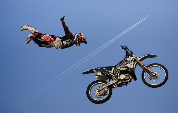 Picture the sky, motorcycle, race, racer, jet