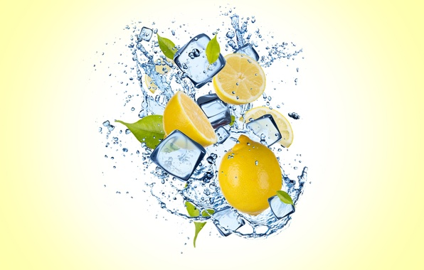 Picture ice, water, drops, lemon, ice, yellow background, water, slices, drops, yellow background, lemon slices