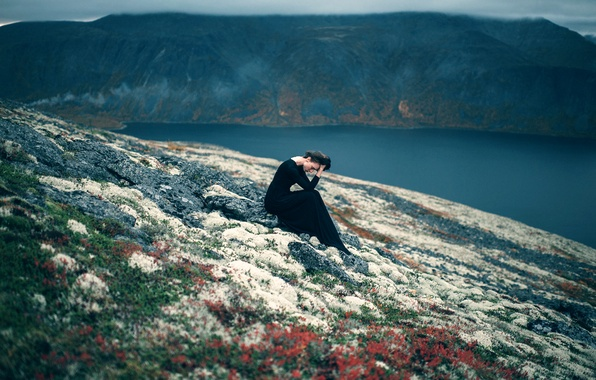 Picture sadness, girl, stones, shore