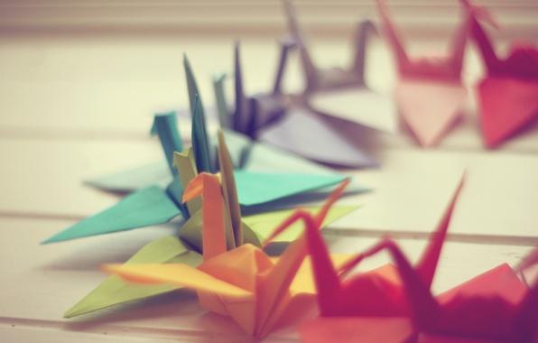 Picture macro, paper, photo, background, Wallpaper, origami, cranes