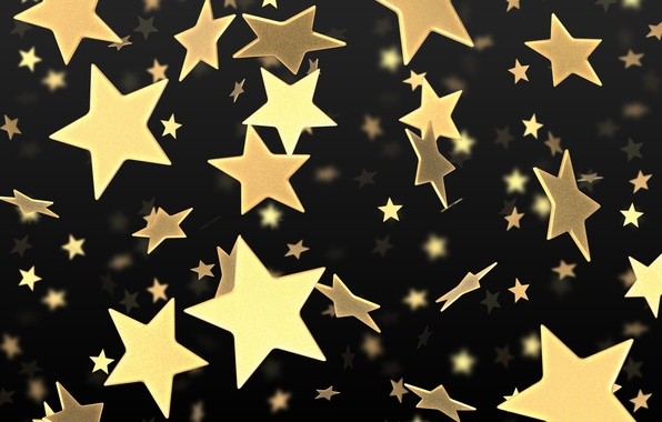 Picture stars, gold, black, yellow