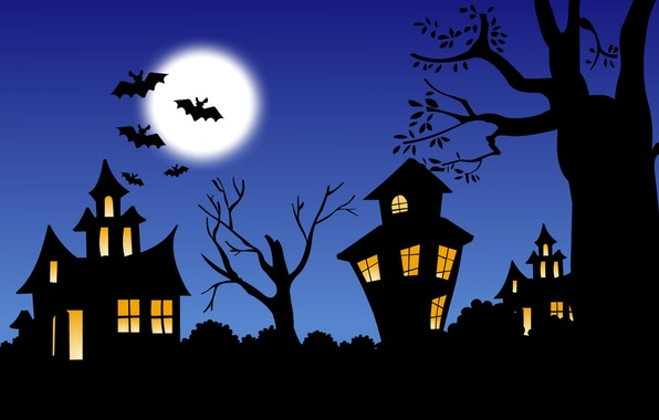 Picture night, castle, the moon, Halloween, bats
