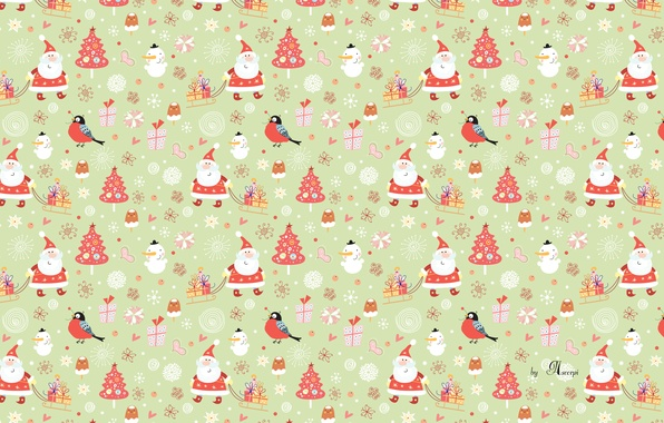 Picture new year, Christmas, snowman, Santa