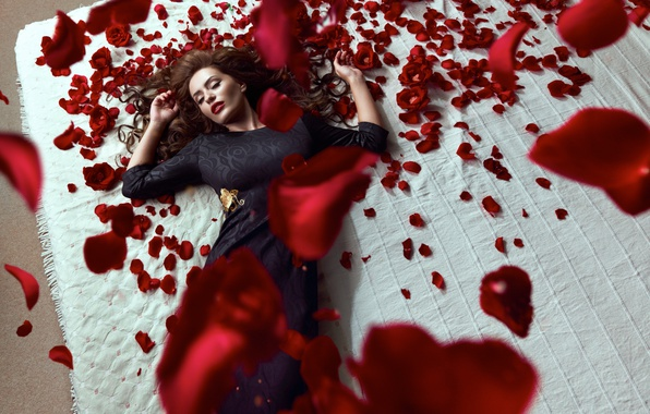 Picture girl, roses, petals, bed, in a black dress