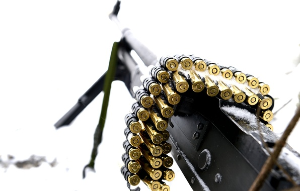 Picture macro, weapons, machine gun, tape cartridges