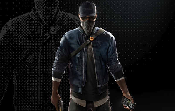 Picture mask, glasses, cap, guy, Ubisoft, hacker, Marcus, Watch Dogs 2, Marcus