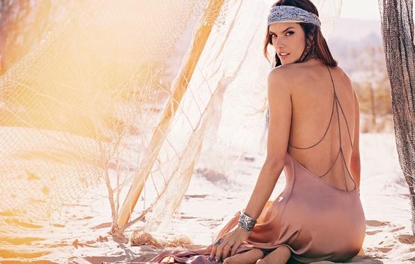 Picture sand, beach, girl, model, dress, Alessandra Ambrosio, brown hair, Alessandra Ambrosio, Victoria's Secret Angels, Ambrosio
