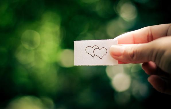 Picture girl, love, green, paper, background, widescreen, Wallpaper, mood, heart, leaf, hand, blur, wallpaper, love, heart, …